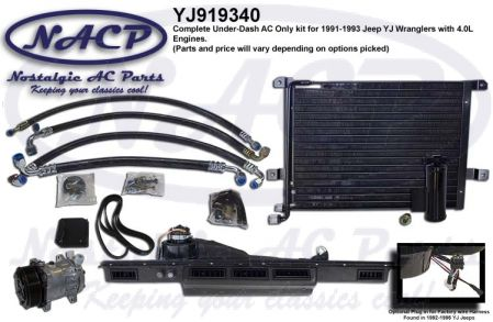 1991-1993 YJ Wrangler Complete AC Kit 4.0L Engine