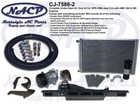1975 - 1986 Complete A/C Only Kit Jeep CJ's AMC 304 & 360 Engines