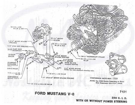 Nostalgic AC - 1965 1966 Ford 289 Compressor Mount Kit   1965 Mustang Engine 289 Diagram      Nostalgic AC