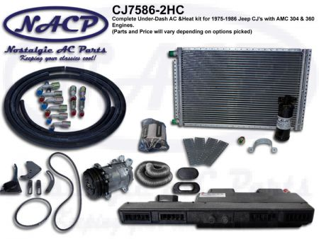 1975-1986 Complete A/C and Heat Kit Jeep CJ's AMC 304 & 360 Engines