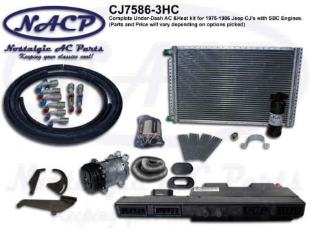 1975-1986 Complete A/C and Heat Kit Jeep CJ's Small Block Chevy Engines