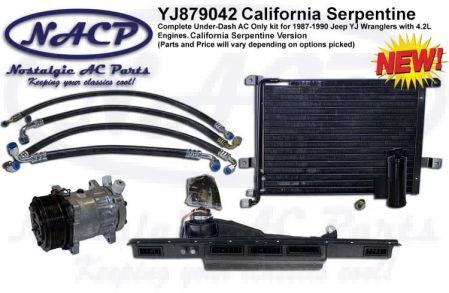 1987-1990 YJ Wrangler AC Kit 4.2L Engine California Serpentine